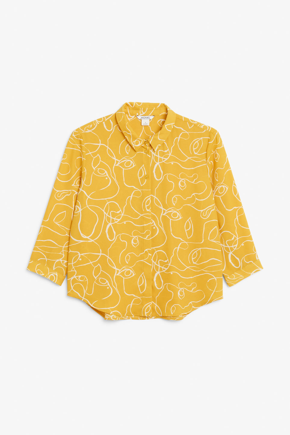 Front image of Monki flowy pleat back blouse in yellow