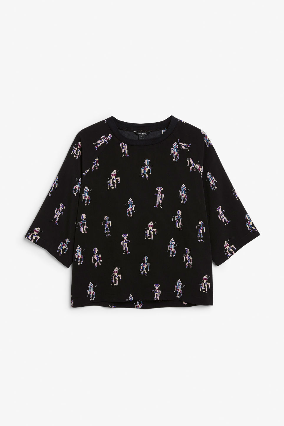 Front image of Monki oversized raglan top in black