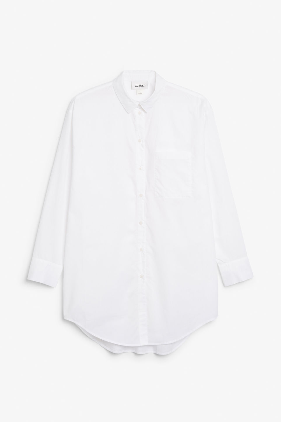 Front image of Monki oversized classic shirt in white