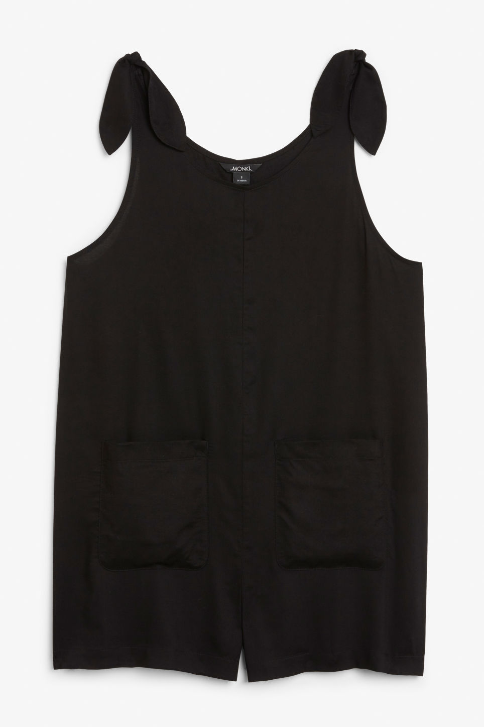 Front image of Monki mini playsuit in black