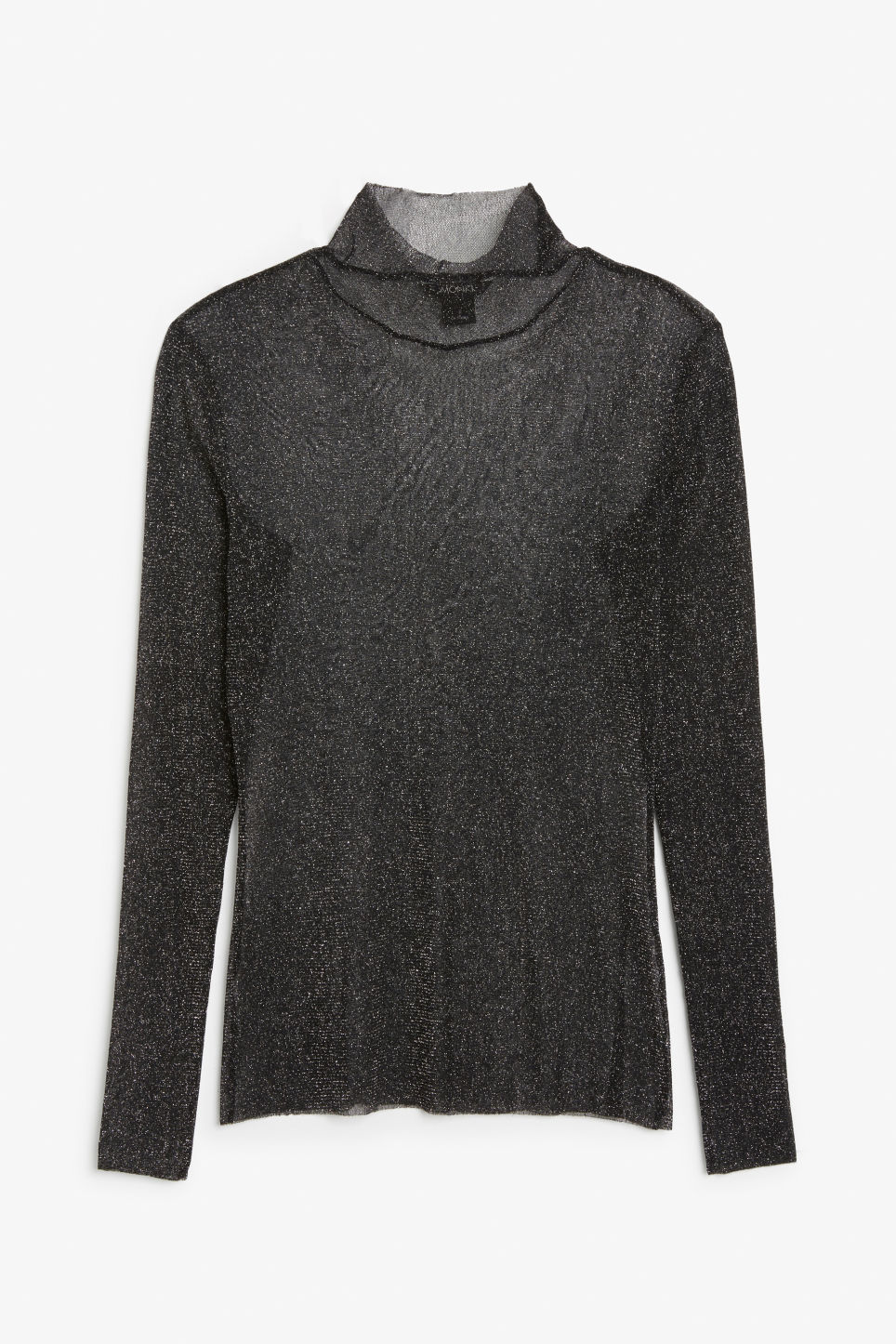 Front image of Monki sheer polo neck top in black