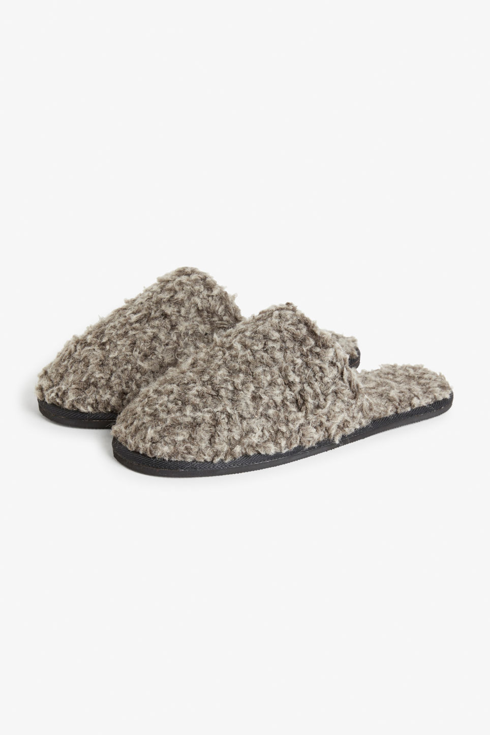 Front image of Monki furry slippers in black