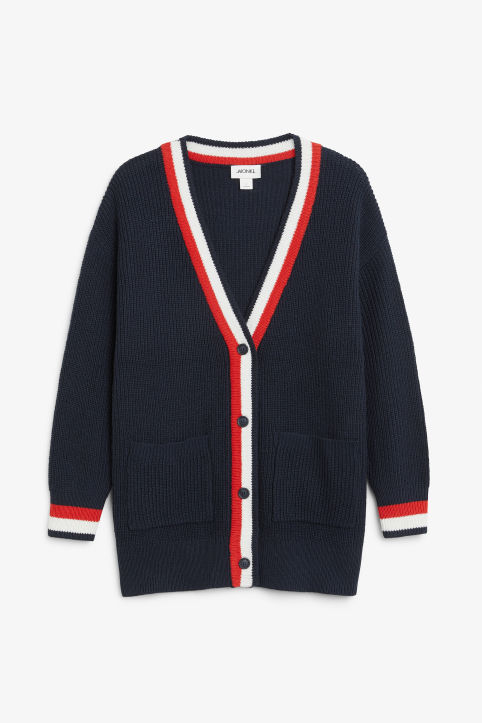 Front image of Monki oversized cardigan in blue