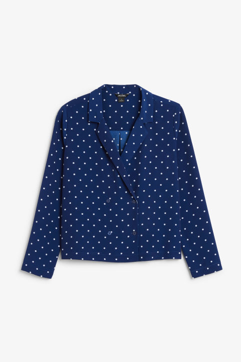 Front image of Monki double-breasted blouse in blue