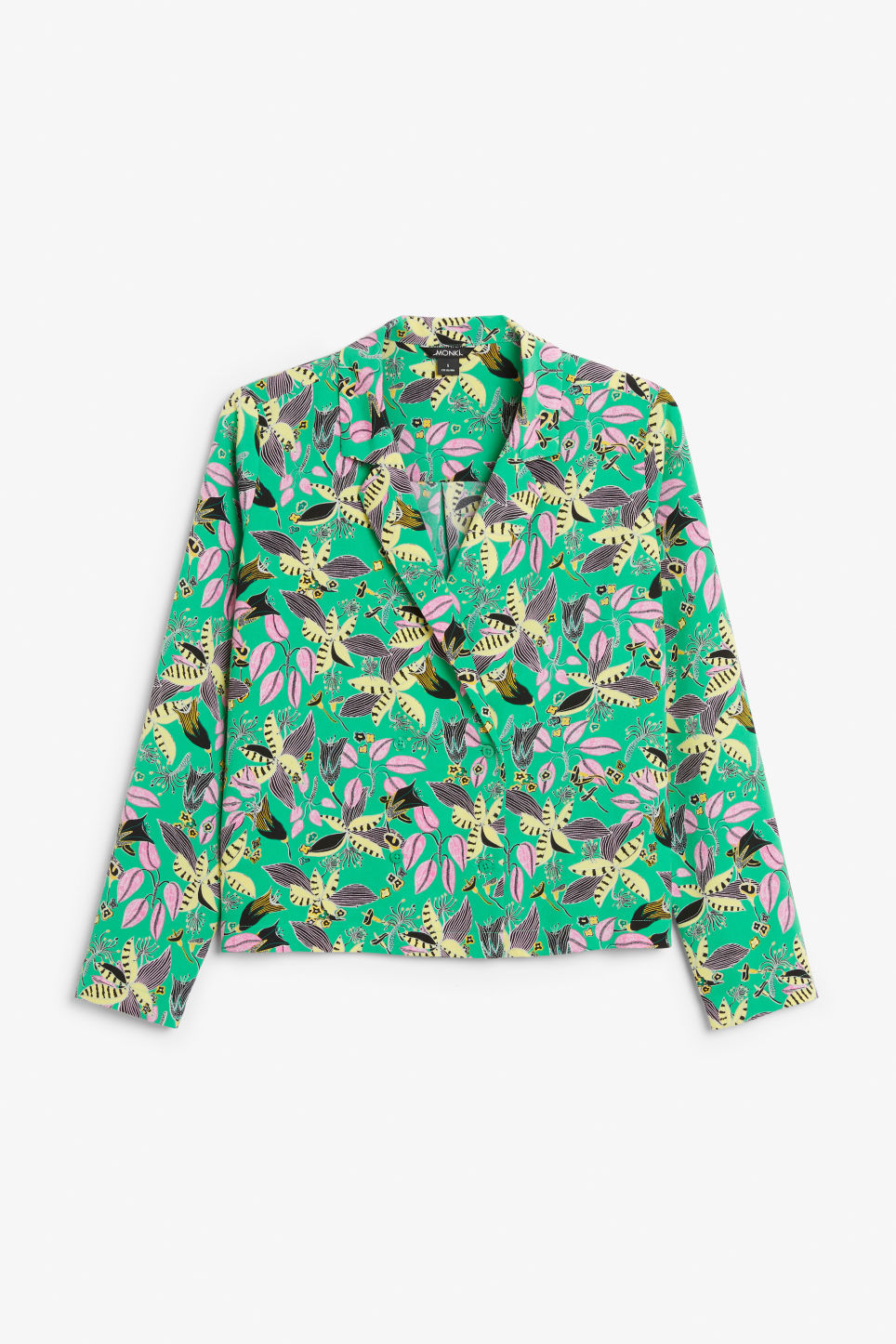 Front image of Monki double-breasted blouse in green