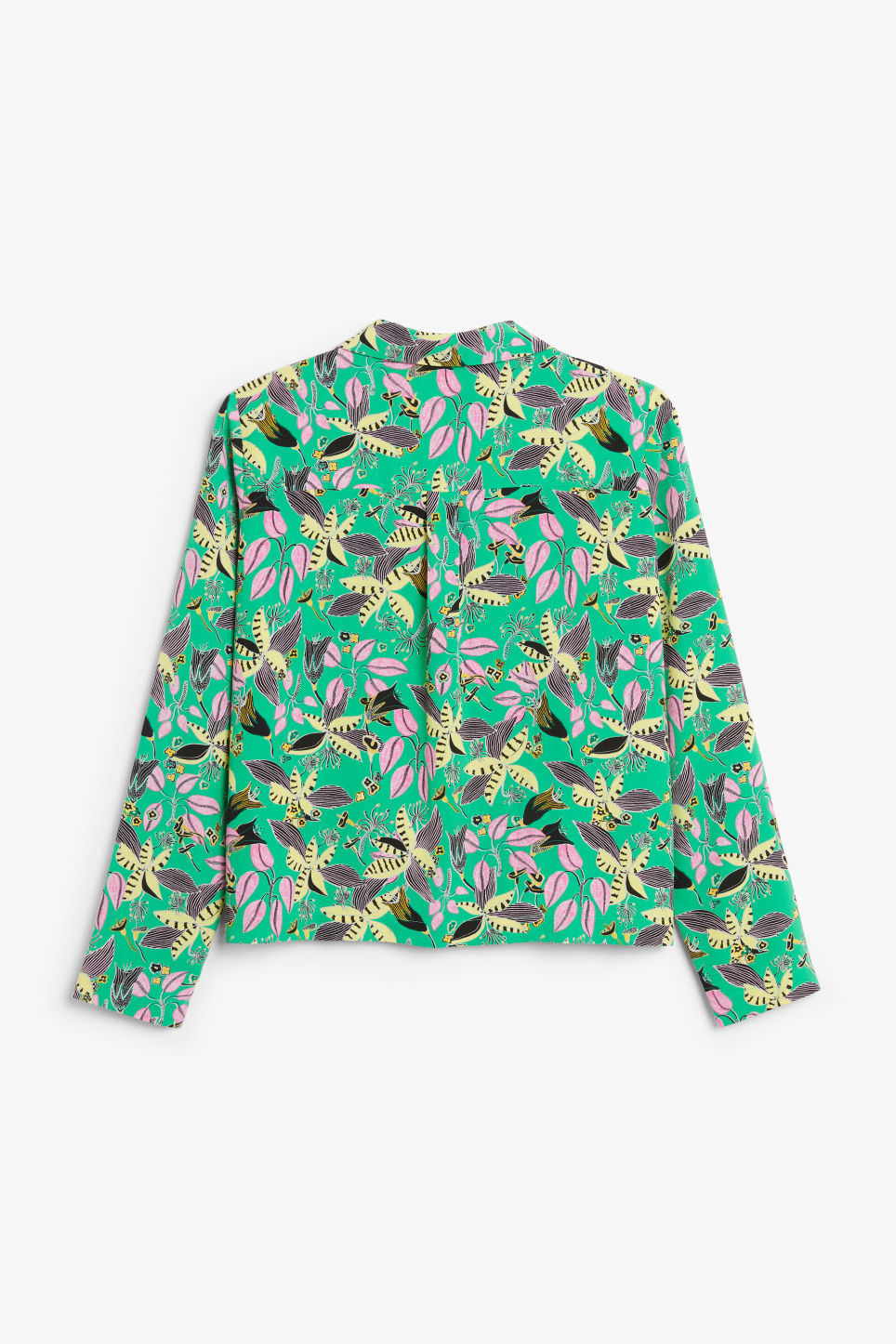 Back image of Monki double-breasted blouse in green
