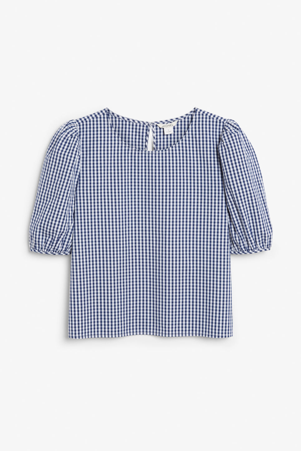 Front image of Monki puffed sleeve blouse in blue