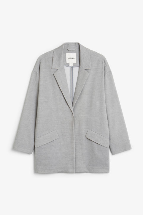 Front image of Monki long blazer in grey