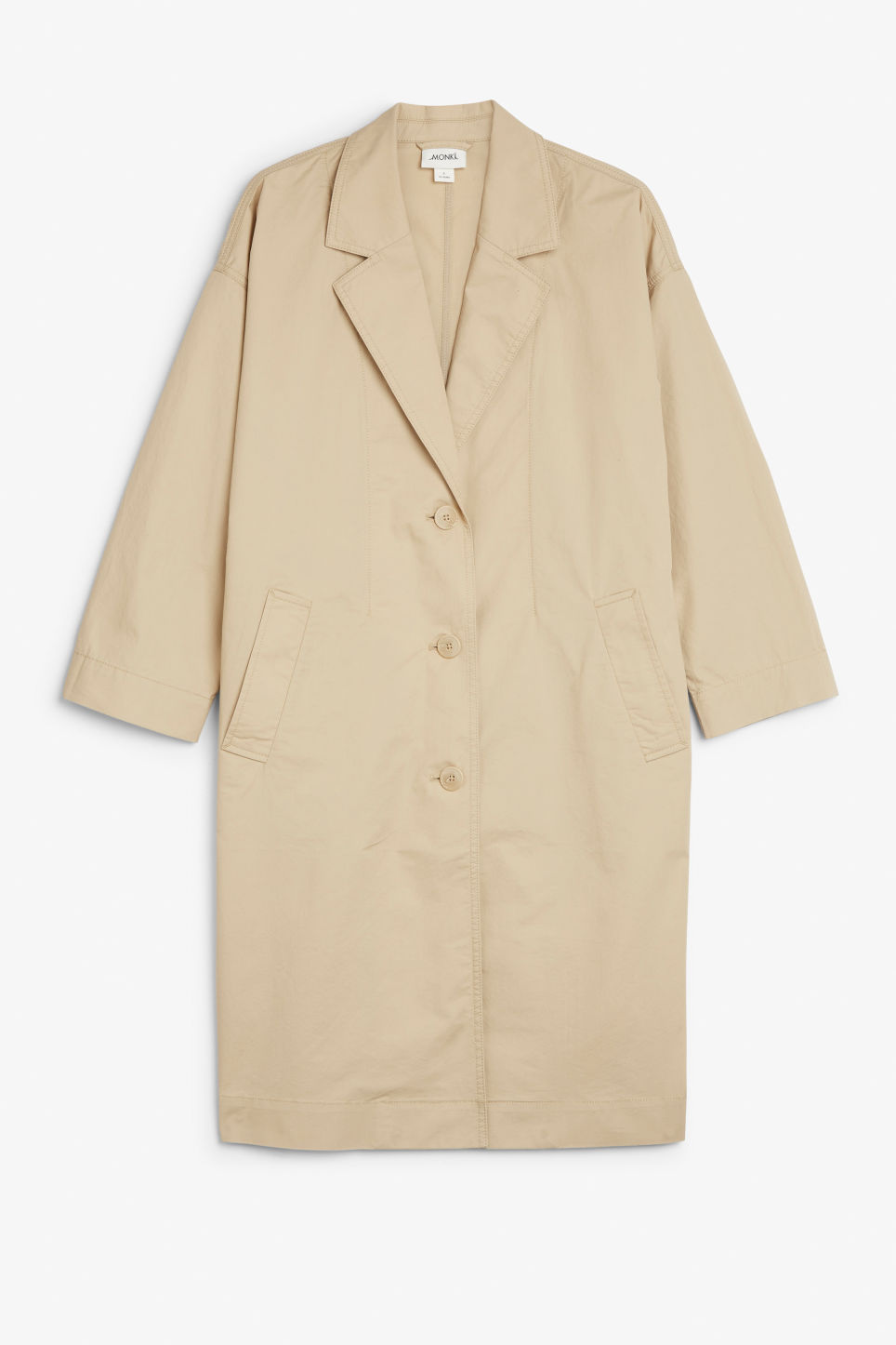 Front image of Monki long coat in beige