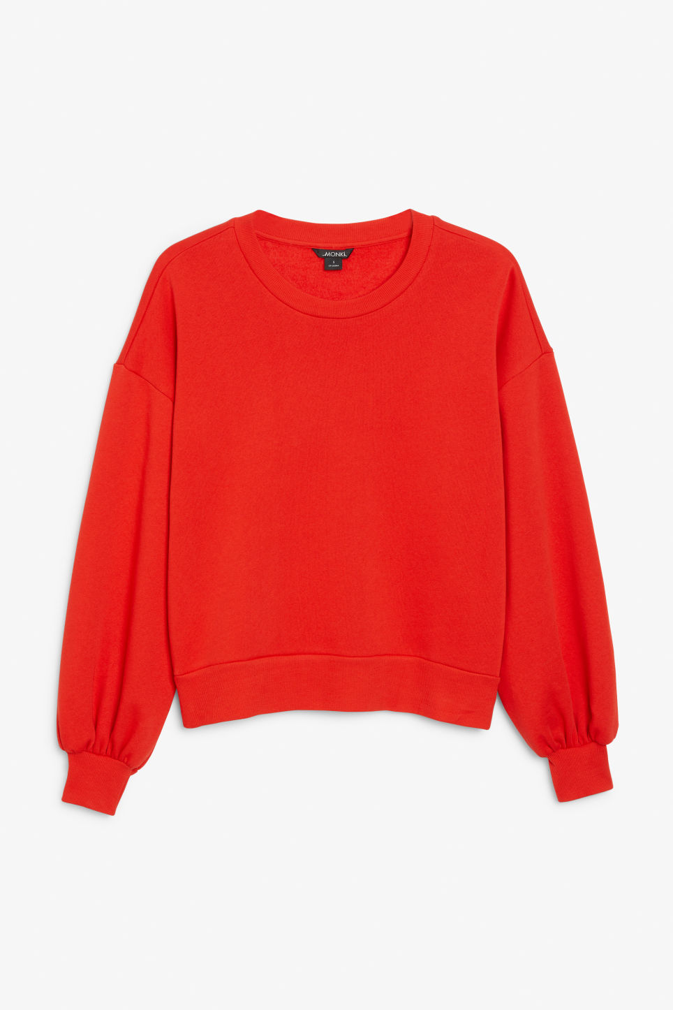 Front image of Monki sweater with puff sleeves in red