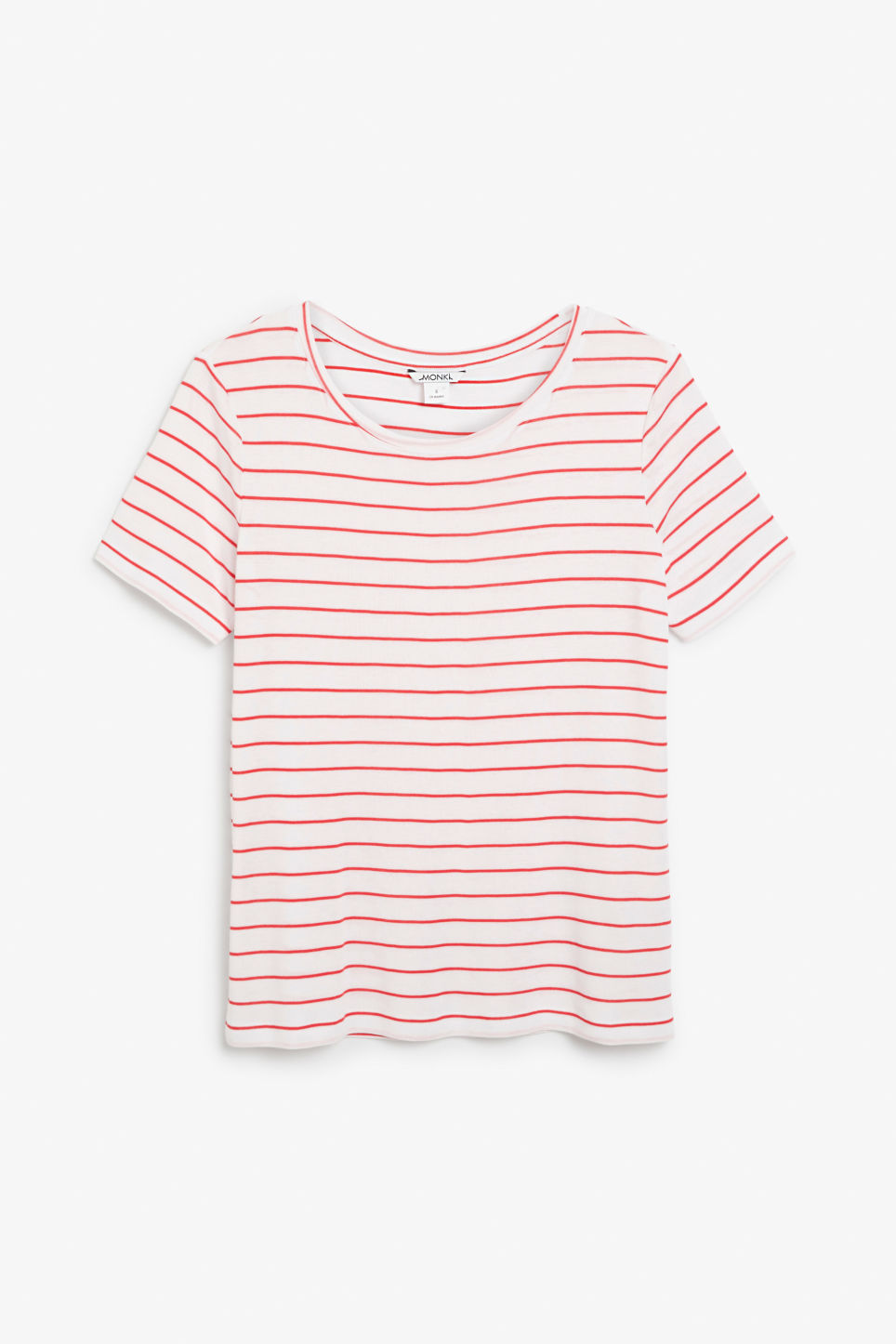 Front image of Monki striped tee in white