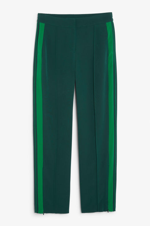Front image of Monki sporty trousers in green