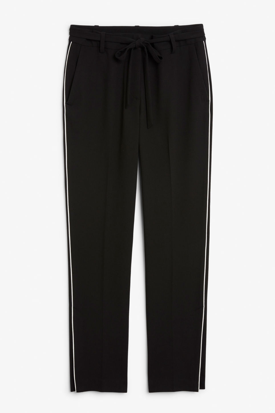 Front image of Monki dressy slit trousers in black