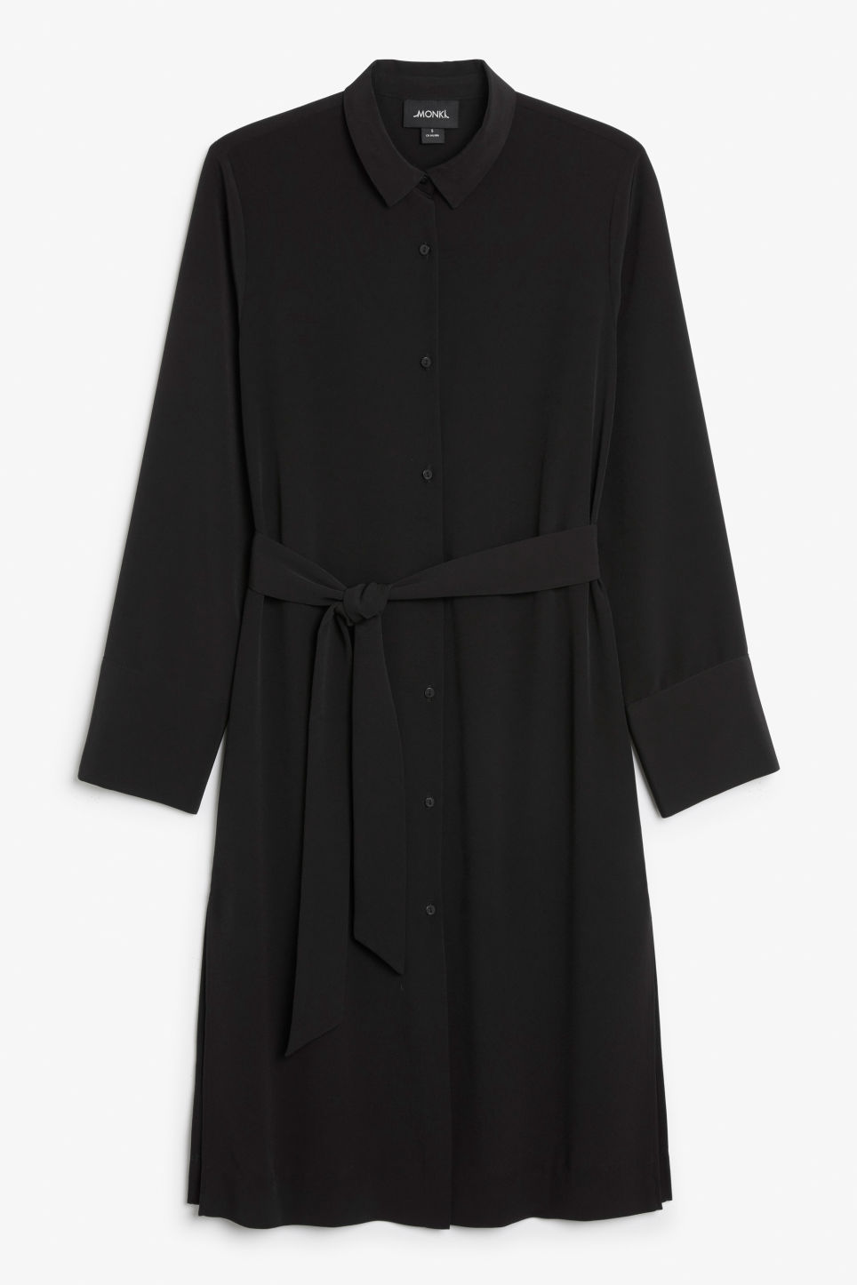 Front image of Monki shirt dress in black