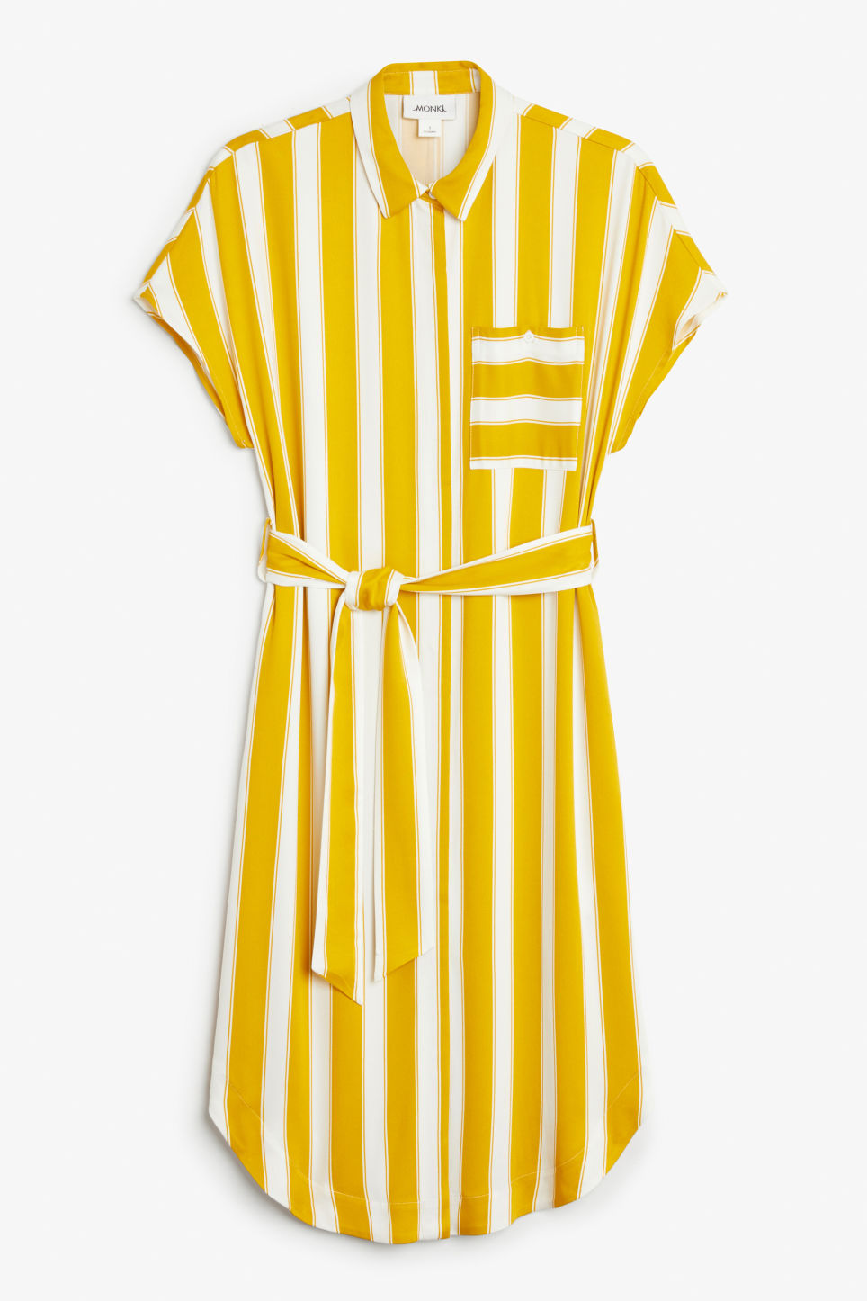 Front image of Monki shirt dress in yellow