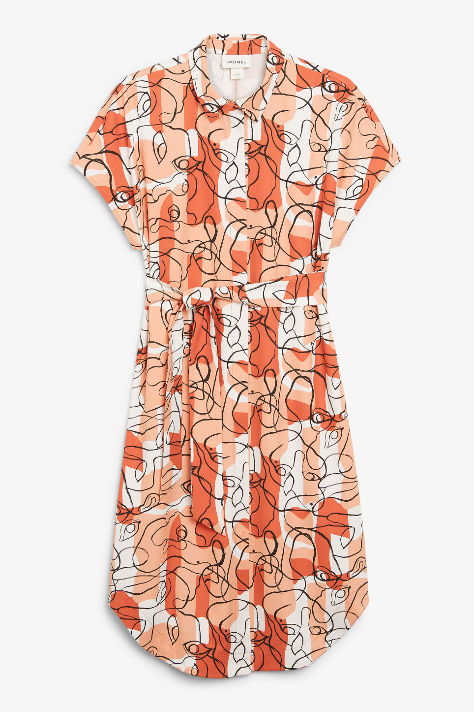 Front image of Monki belted hidden button shirt dress in white