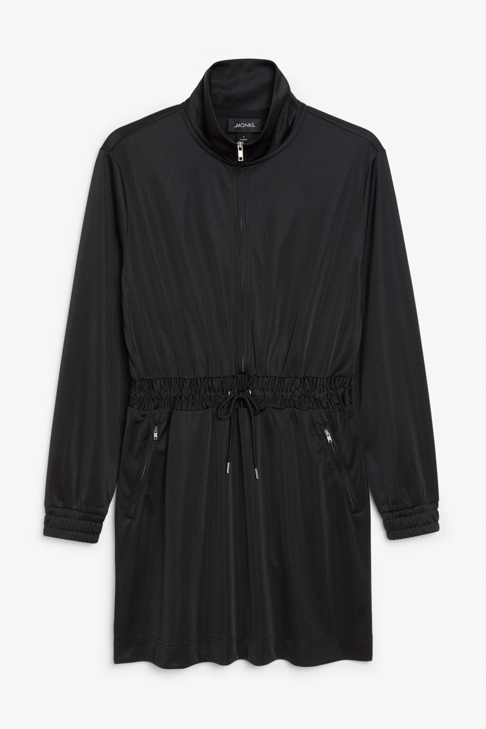 Front image of Monki sporty drawstring dress in black