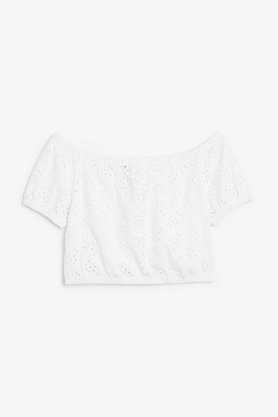 Front image of Monki cold shoulder top in white