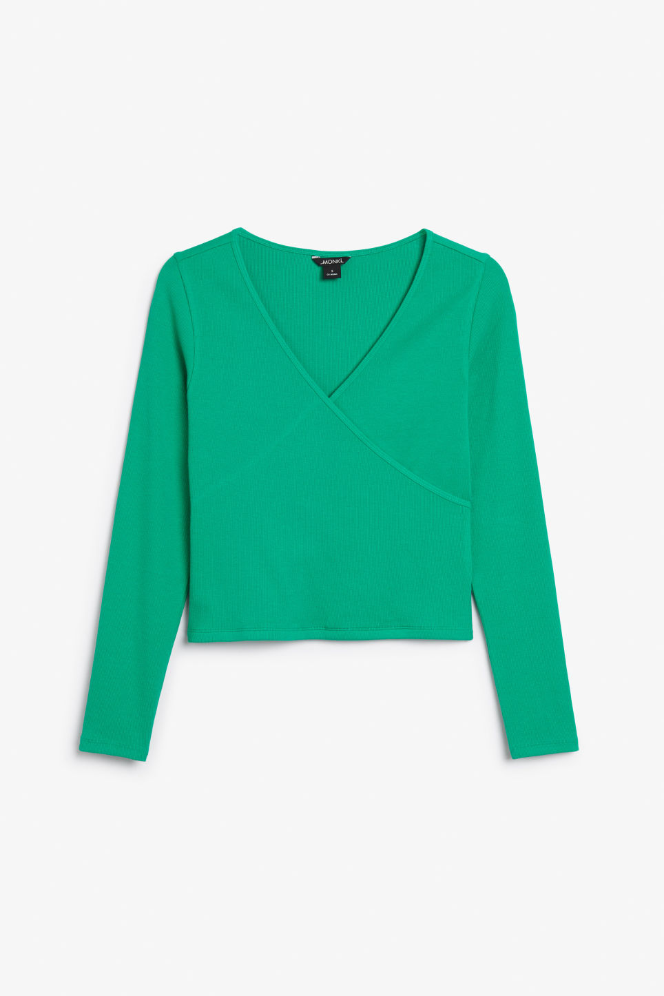 Front image of Monki wrap top in green