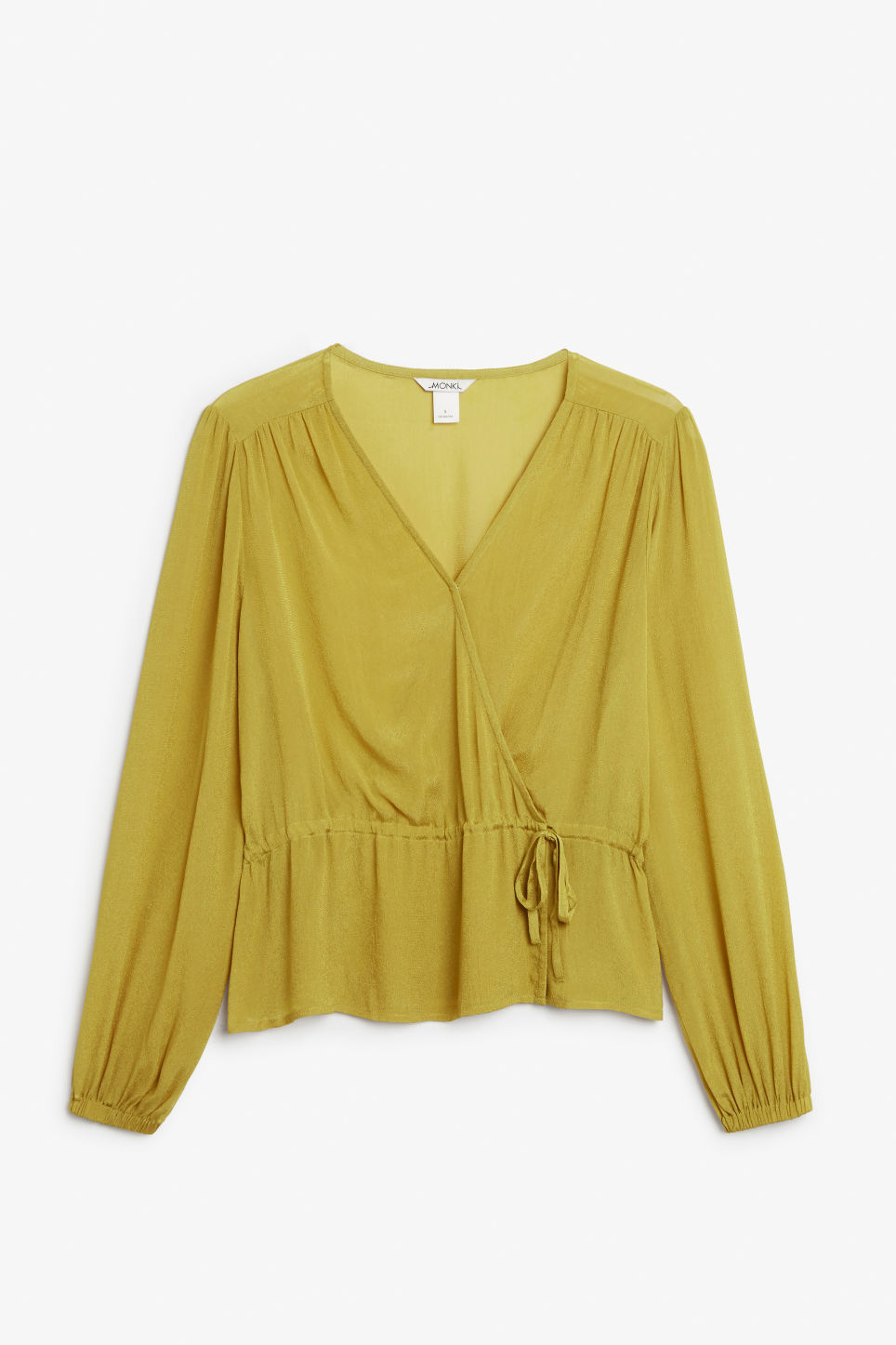Front image of Monki wrap blouse in yellow