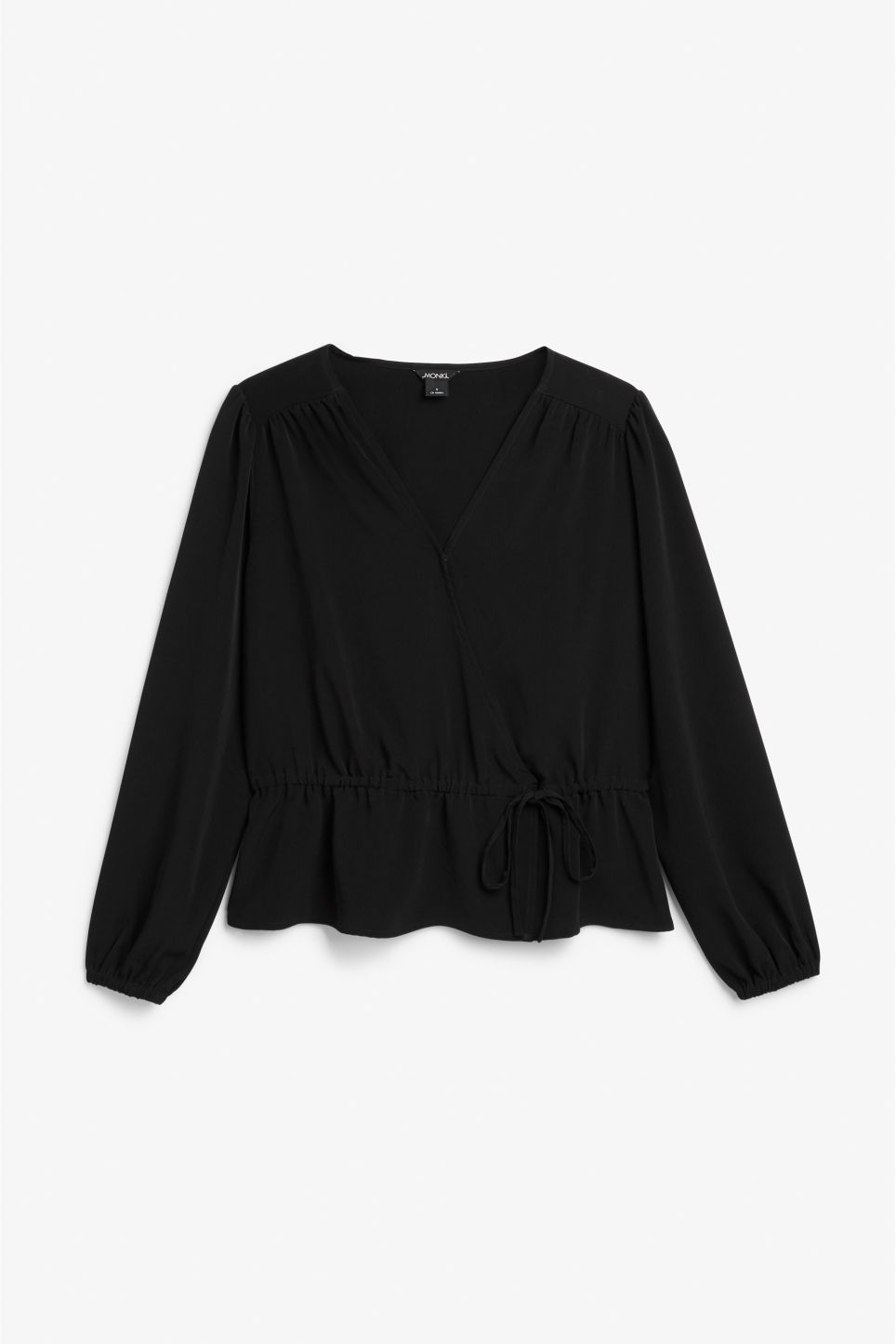 Front image of Monki wrap blouse in black
