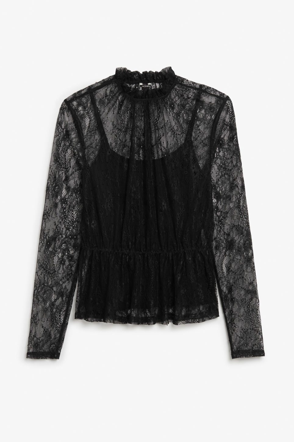 Front image of Monki sheer lace blouse in black