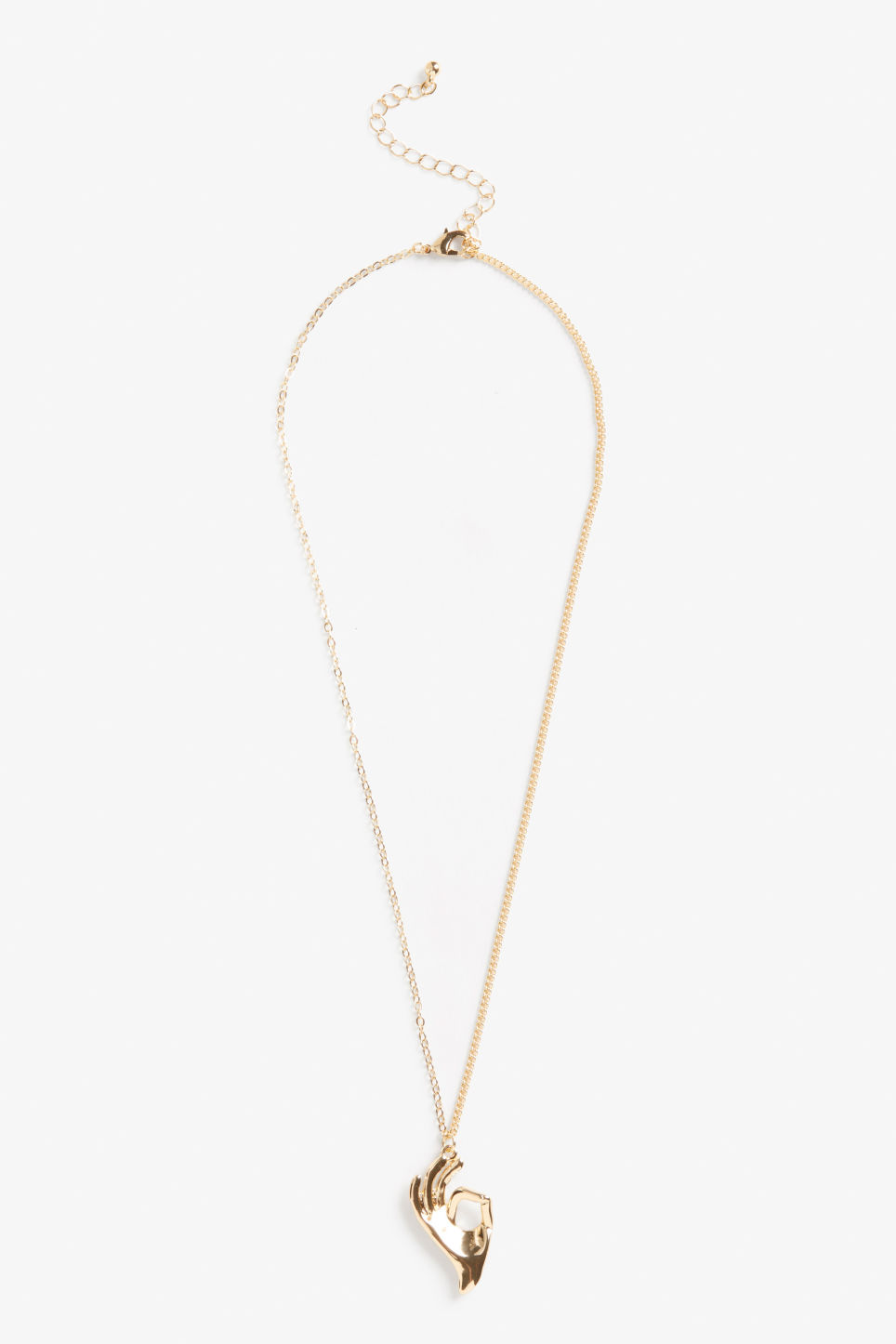Front image of Monki hand charm necklace in gold