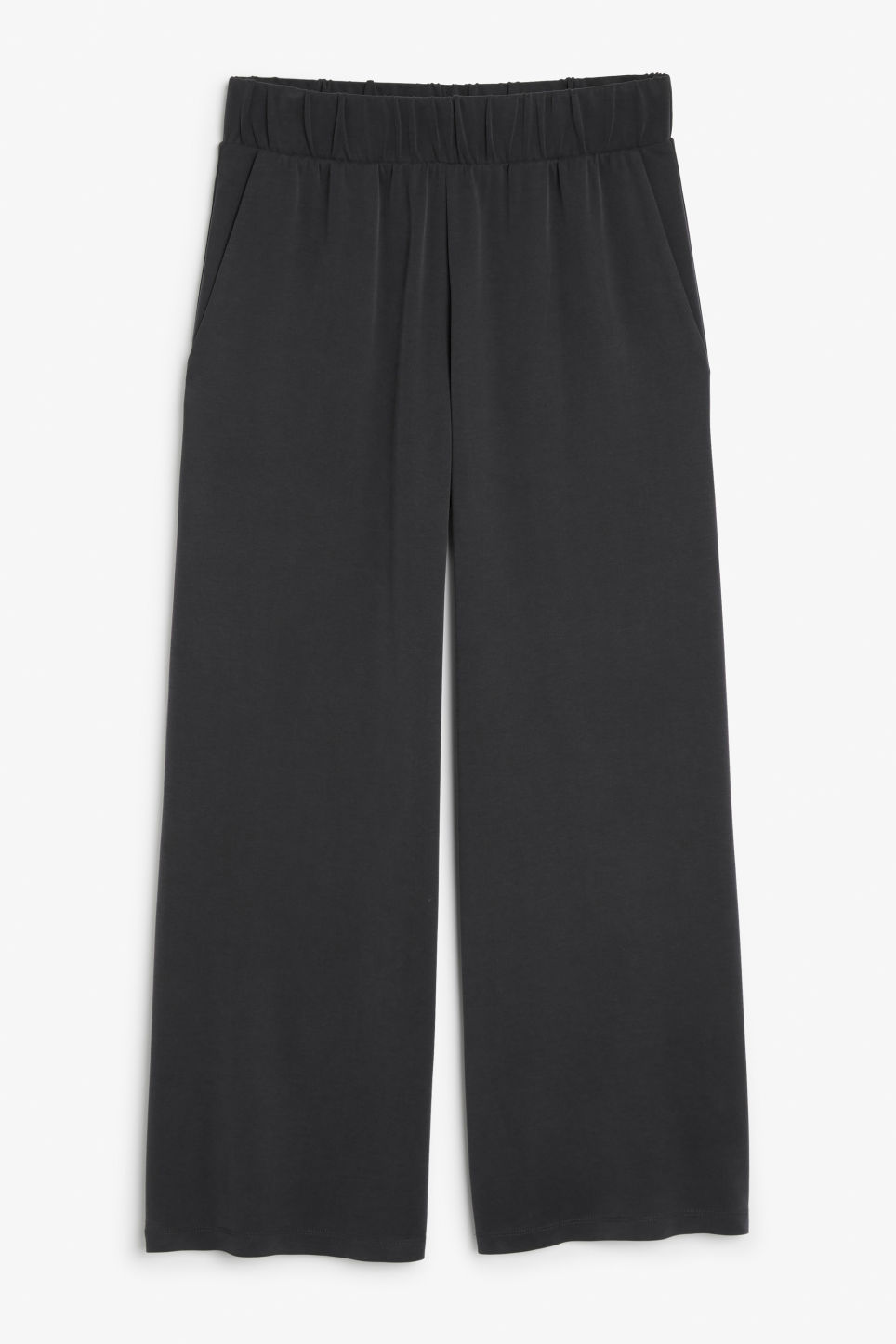 Front image of Monki super-soft wide leg trousers in black