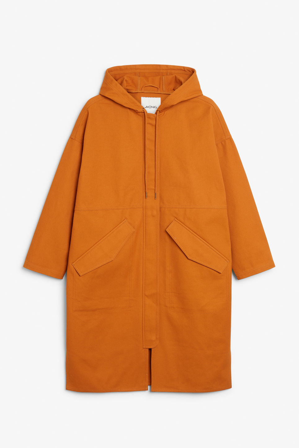 Front image of Monki long hoodie jacket in yellow