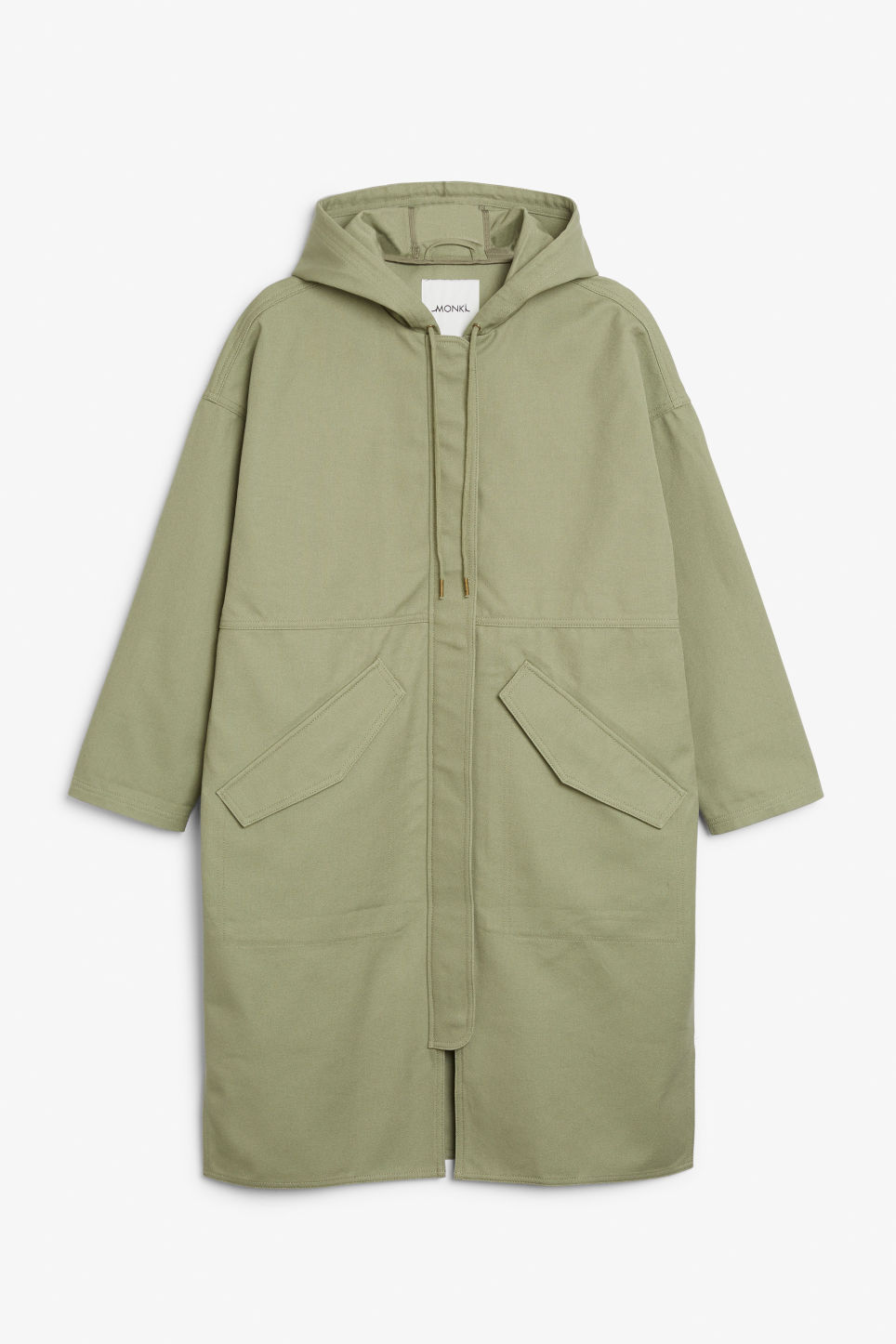 Front image of Monki long hoodie jacket in green