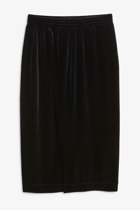 Front image of Monki super-soft wrap skirt in black