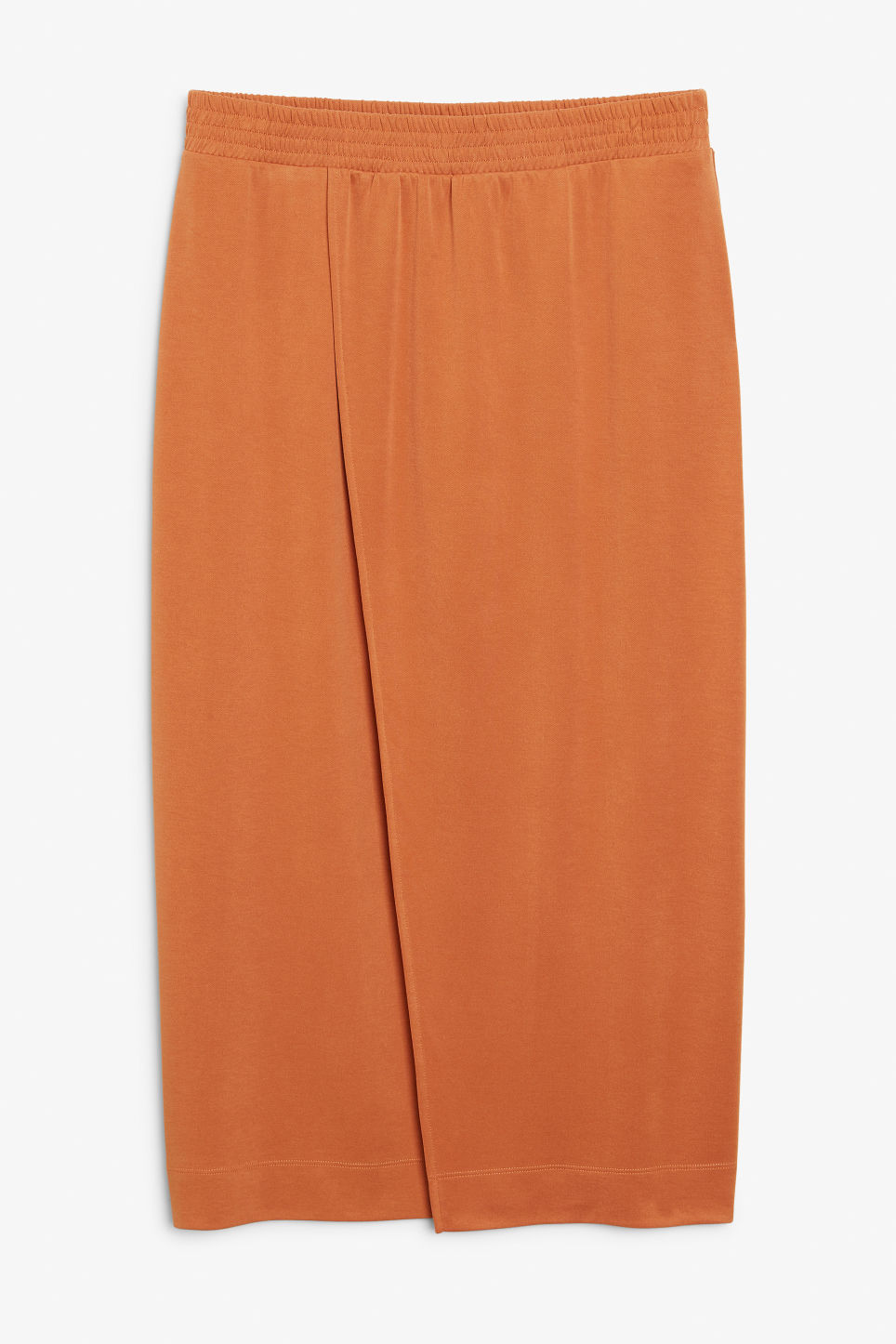 Front image of Monki wrap skirt in orange