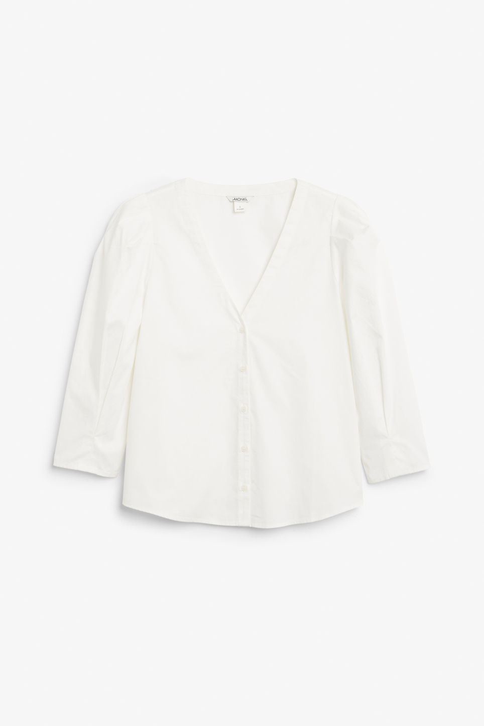 Front image of Monki v-neck blouse in white