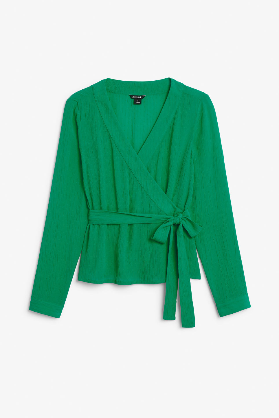 Front image of Monki wrap blouse in green