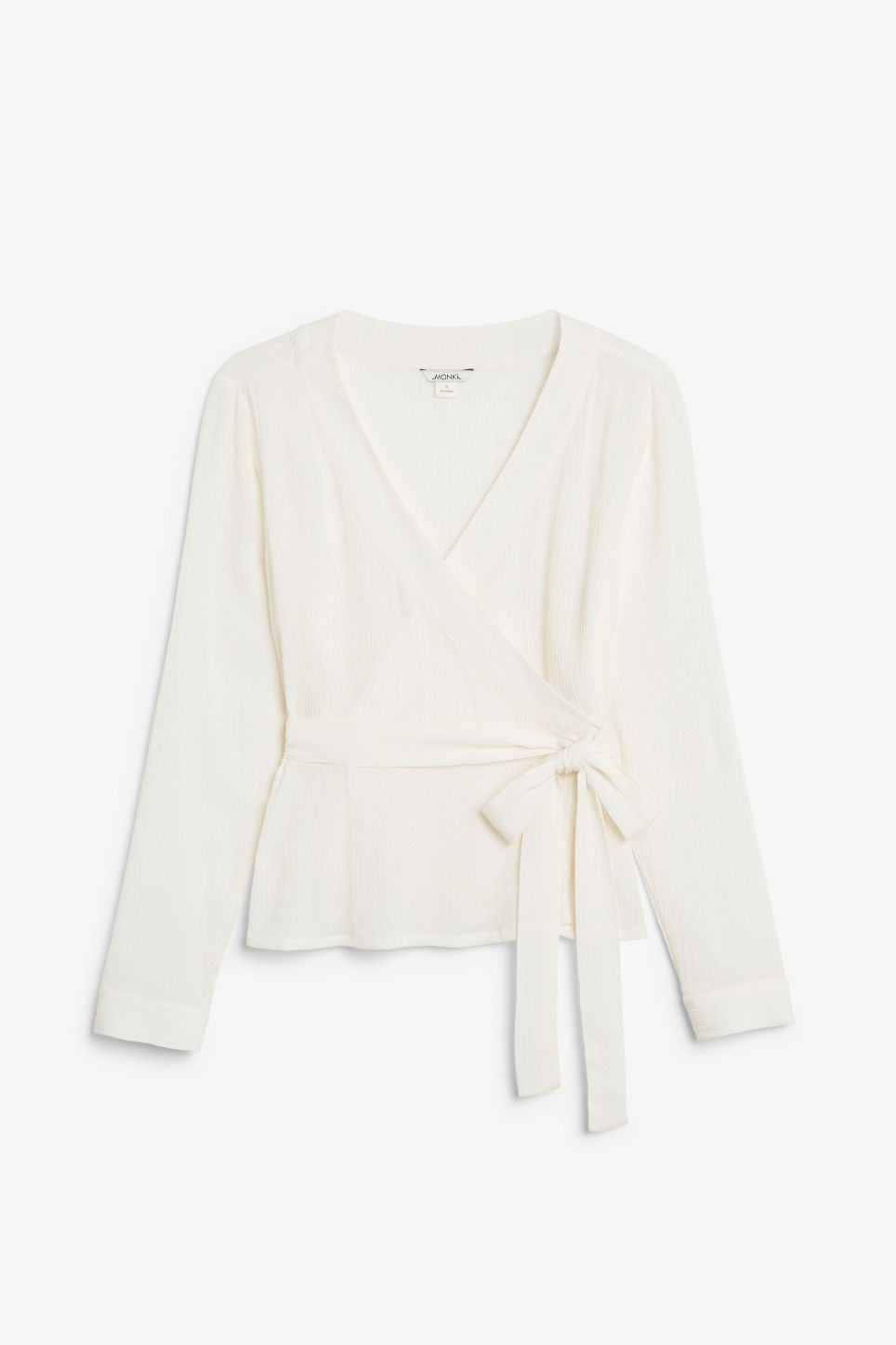 Front image of Monki wrap blouse in white