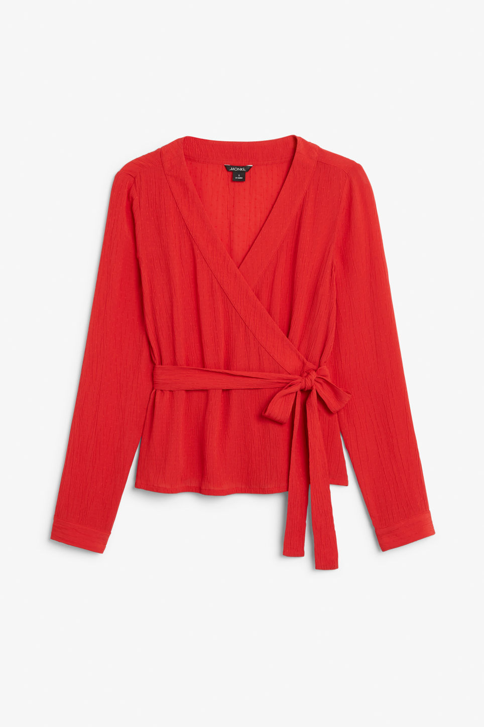 Front image of Monki wrap blouse in red