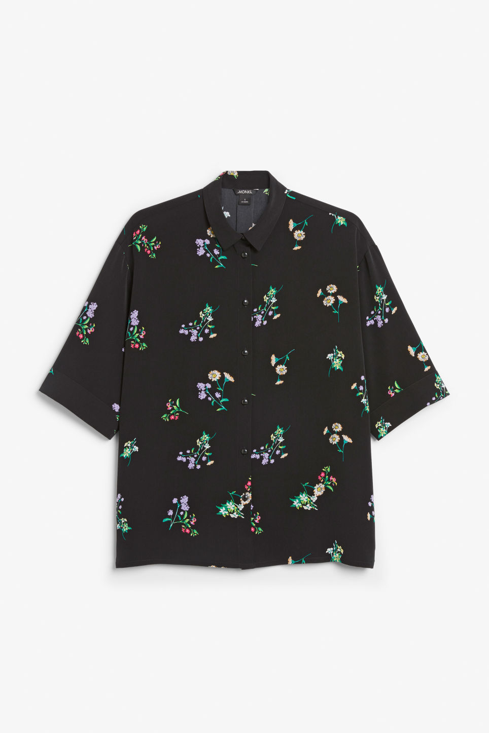Front image of Monki oversized blouse in black