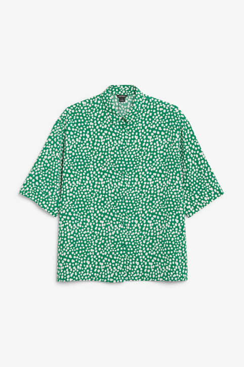 Front image of Monki oversized blouse in green