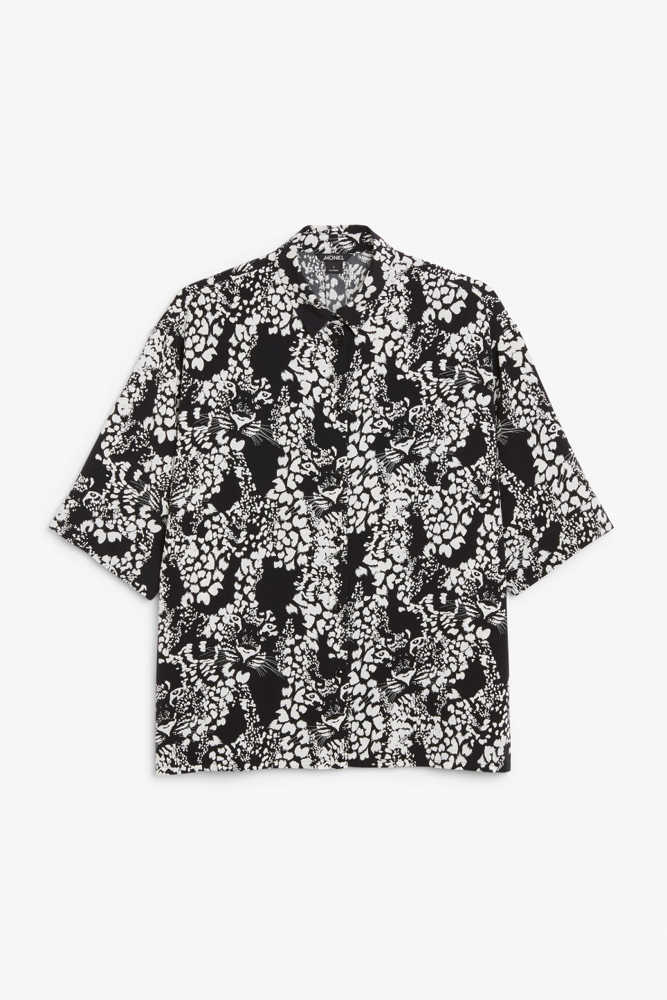 Front image of Monki flowy oversized shirt in black