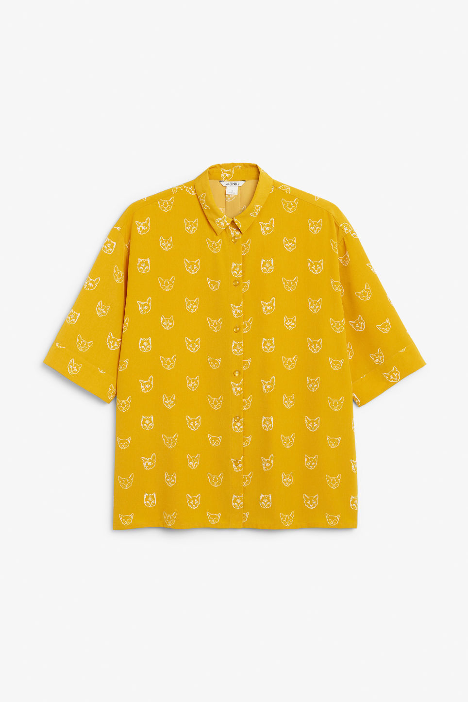 Front image of Monki oversized button-up blouse in yellow