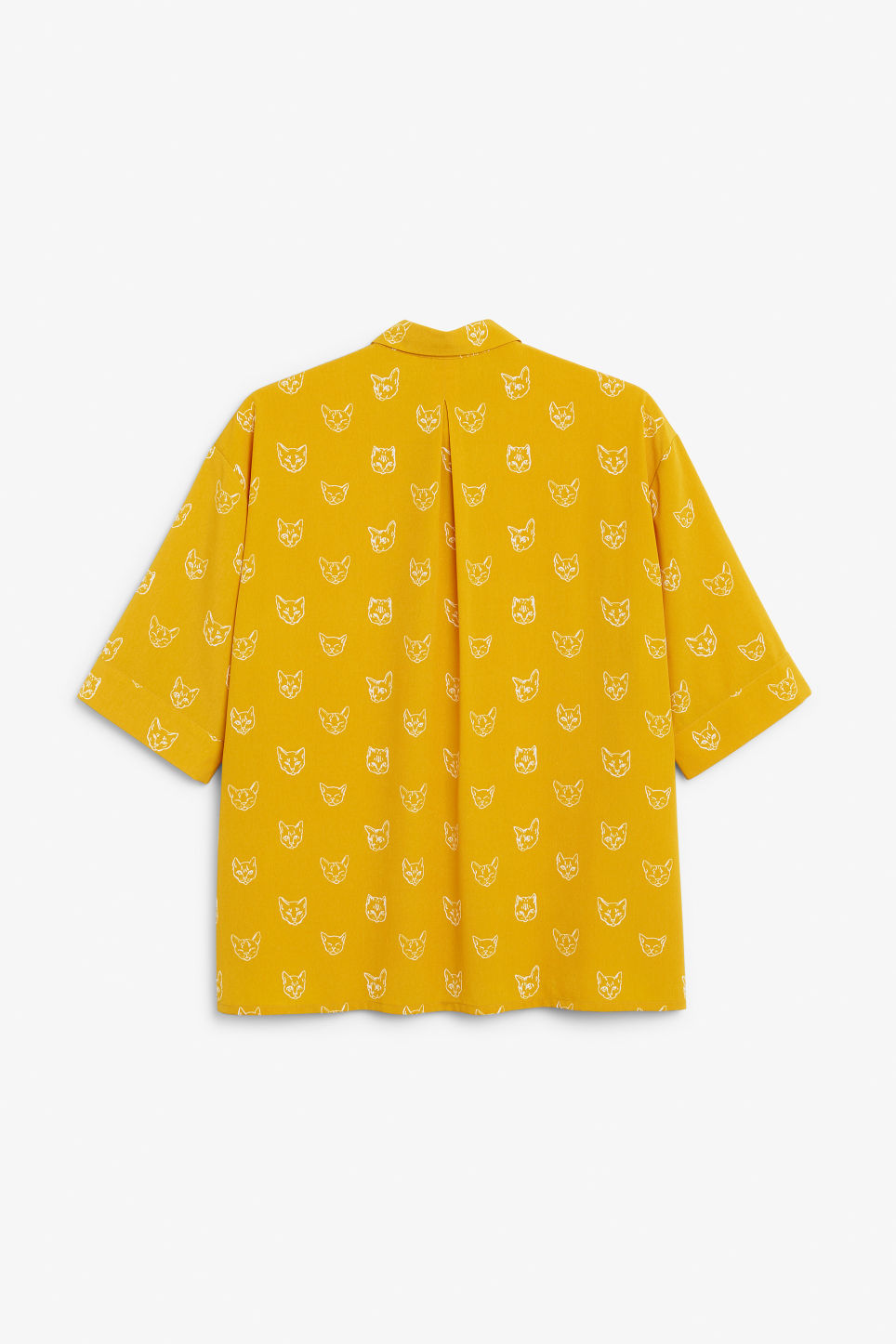 Back image of Monki oversized button-up blouse in yellow
