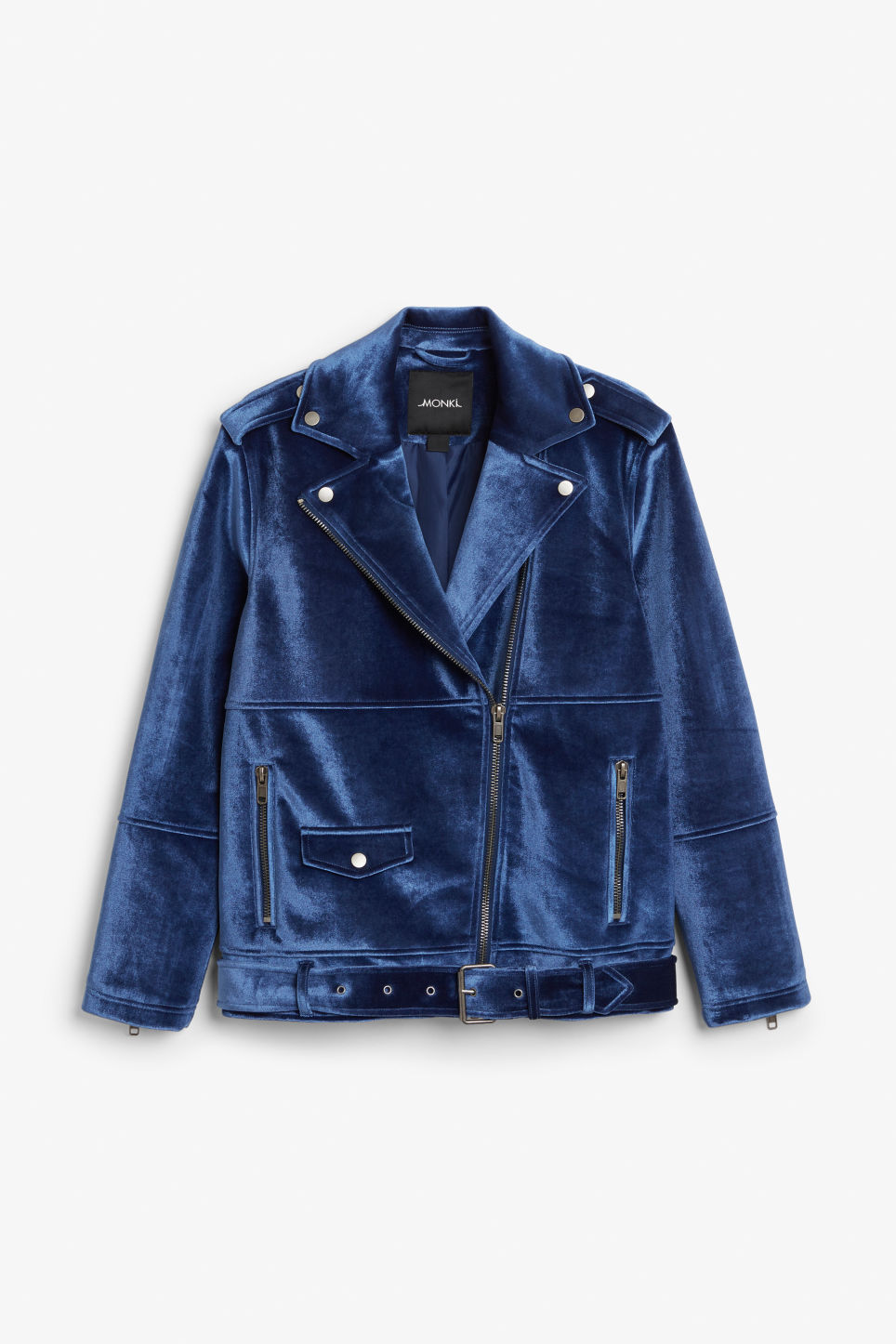 Front image of Monki velvet biker jacket in blue