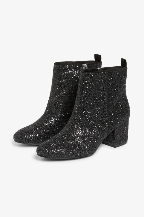 Front image of Monki zippered ankle boots in black