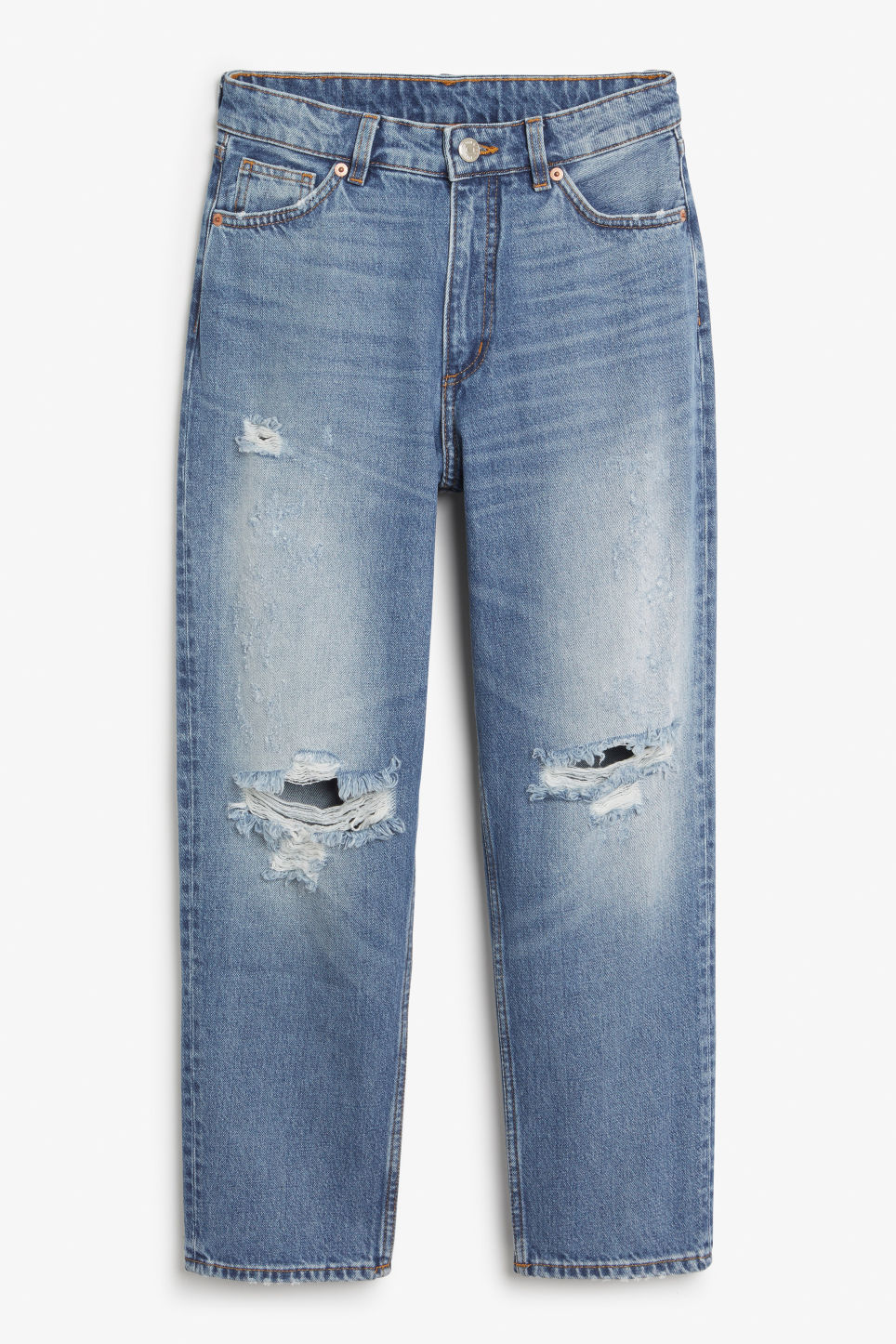 Front image of Monki taiki distressed finish in blue