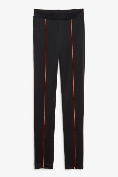 Front image of Monki scuba stripe leggings in black