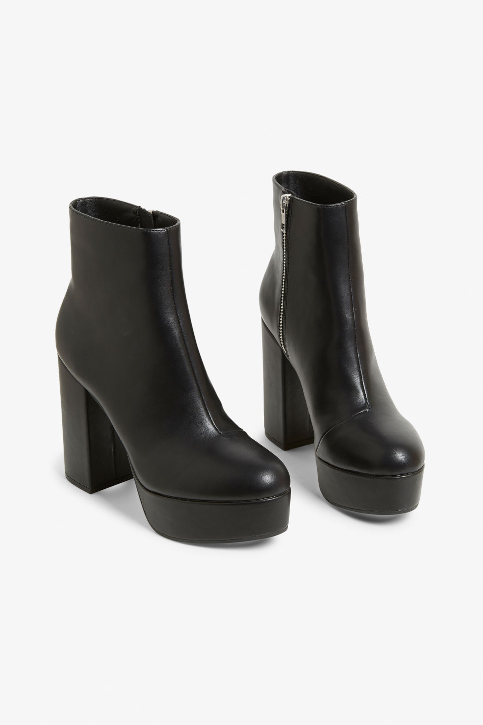 Front image of Monki patent platform boots in black