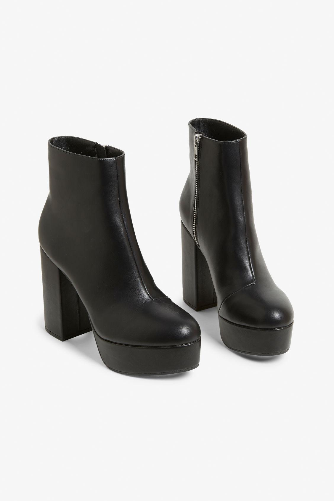 e932132c055 Front image of Monki patent platform boots in black