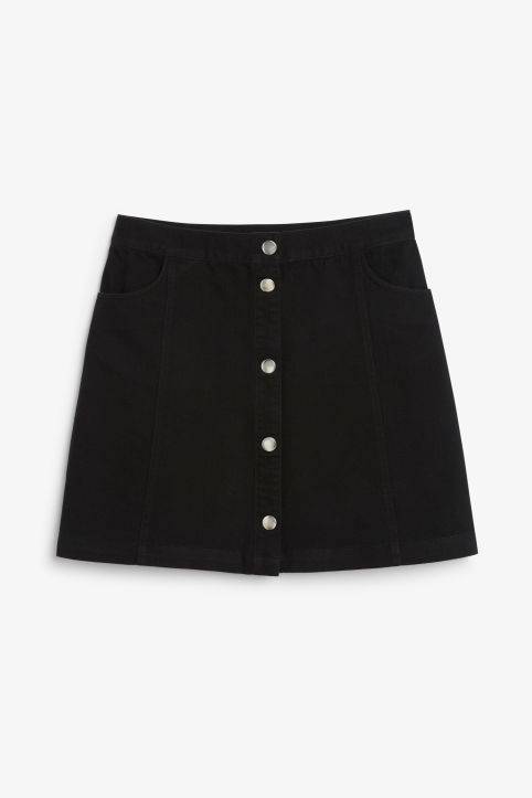 Front image of Monki mini skirt in black