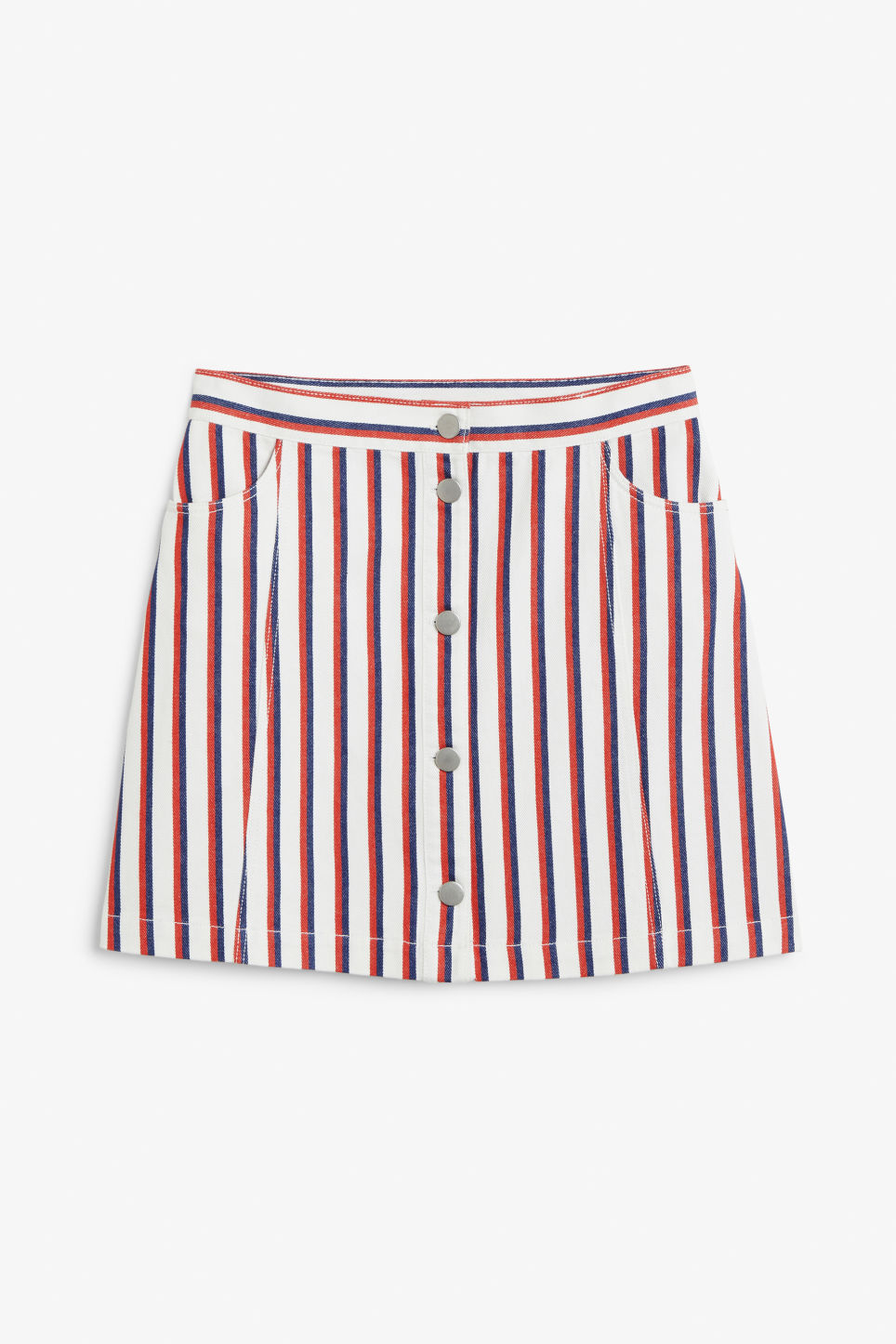 Front image of Monki mini skirt in red