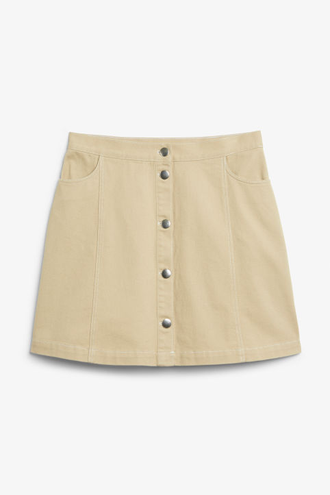 Front image of Monki mini skirt in beige